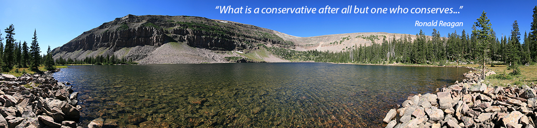 Mountains and Lake with Reagan Quote