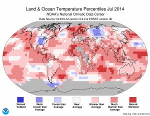NOAA Graphic - July 2014 Global Temperatures / Departure from Average